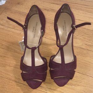 Zara brand new suede platform heels wine color